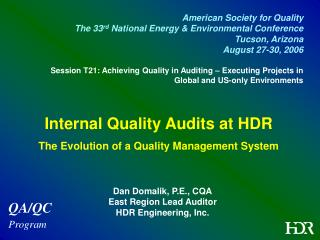 Internal Quality Audits at HDR The Evolution of a Quality Management System