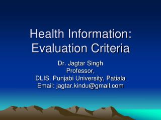 Health Information: Evaluation Criteria