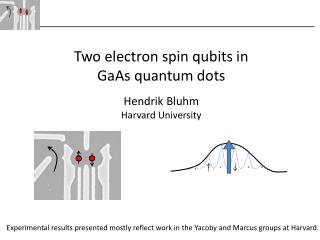 Two electron spin qubits in  GaAs  quantum dots Hendrik Bluhm Harvard University