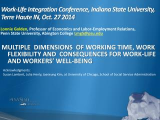 Work-Life Integration Conference, Indiana State University, Terre Haute IN, Oct. 27 2014