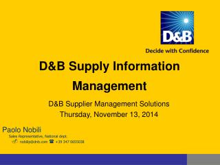 D&B Supply Information Management