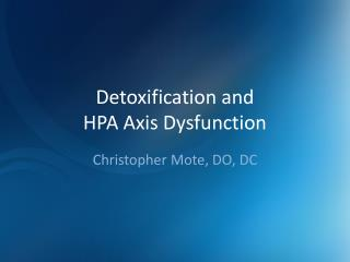 Detoxification and HPA Axis Dysfunction