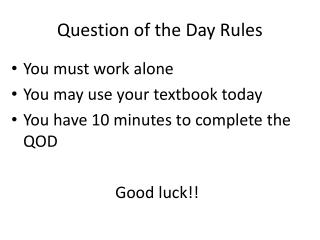 Question of the Day Rules