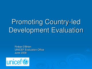 Promoting Country-led Development Evaluation