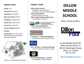 A new Middle School for Dillon School District 4 405 W. Washington Street Dillon, SC  29536 843.774.1200 http://www.dill