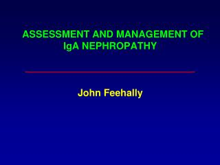 ASSESSMENT AND MANAGEMENT OF IgA NEPHROPATHY John Feehally