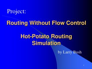 Routing Without Flow Control Hot-Potato Routing Simulation