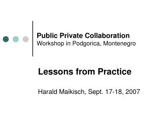 Public Private Collaboration Workshop in Podgorica, Montenegro