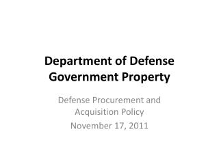 Department of Defense Government Property