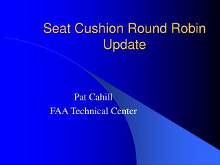 Seat Cushion Round Robin Update