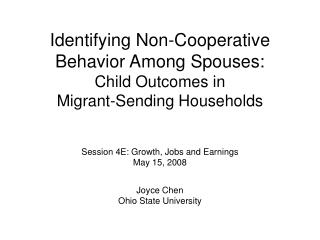 Identifying Non-Cooperative Behavior Among Spouses:  Child Outcomes in  Migrant-Sending Households