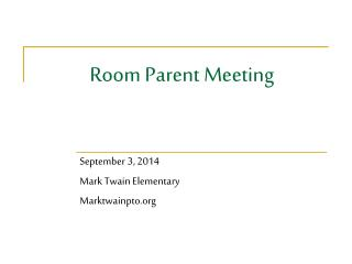 Room Parent Meeting