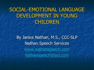 SOCIAL-EMOTIONAL LANGUAGE DEVELOPMENT IN YOUNG CHILDREN