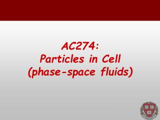AC274: Particles  in  Cell ( phase-space fluids)