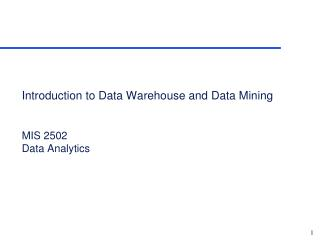 Introduction to  Data Warehouse and Data Mining MIS 2502 Data Analytics