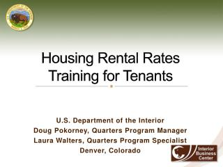 Housing Rental Rates Training for Tenants