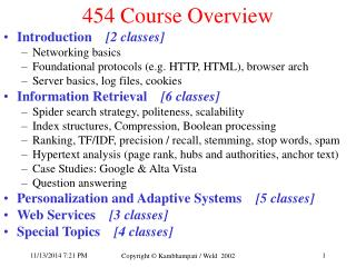 454 Course Overview