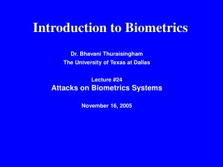 Introduction to Biometrics