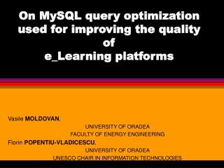 On MySQL query optimization used for improving the quality of e_Learning platforms