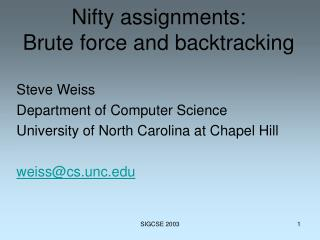 Nifty assignments: Brute force and backtracking
