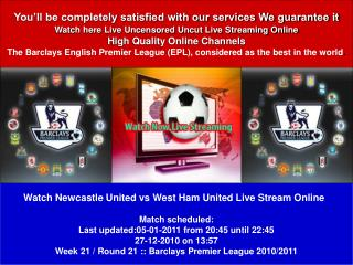 LIVE STREAM Newcastle United vs West Ham United ONLINE TV