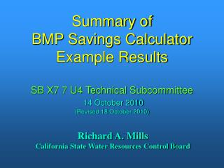 Summary of BMP Savings Calculator Example Results