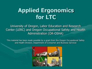 Applied Ergonomics  for LTC