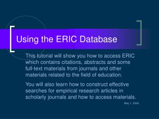 Using the ERIC Database