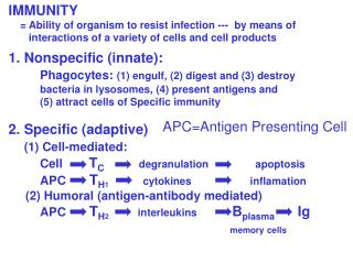 IMMUNITY     = Ability of organism to resist infection ---  by means of