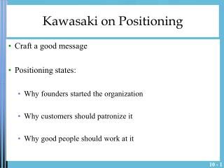 Kawasaki on Positioning