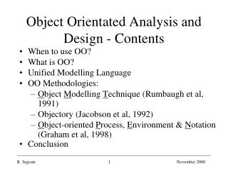 Object Orientated Analysis and Design - Contents