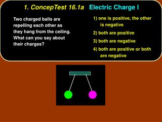 1. ConcepTest 16.1a Electric Charge I