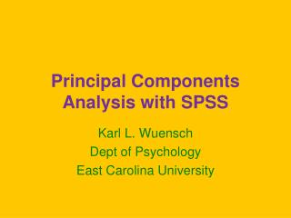 Principal Components Analysis with SPSS