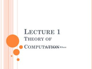 Lecture 1 Theory of Computation