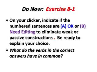 Do Now:   Exercise 8-1