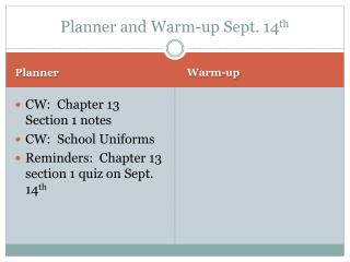Planner and Warm-up Sept. 14 th