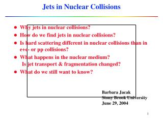 Jets in Nuclear Collisions