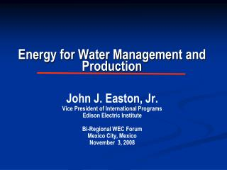 Energy for Water Management and Production