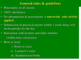General rules & guidelines