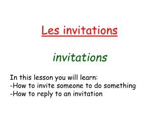 Les invitations invitations