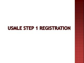 USMLE Step 1 Registration