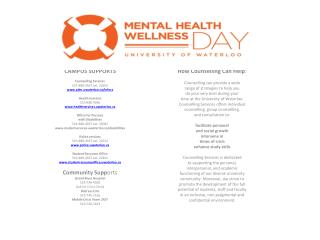 CAMPUS  SUPPORTS Counselling Services 519-888-4567 ext.  32655 adm.uwaterloo/infocs