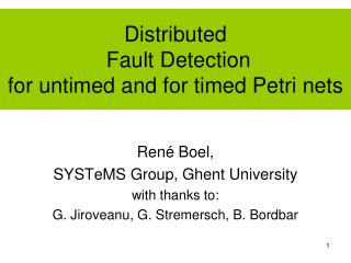Distributed  Fault Detection for untimed and for timed Petri nets