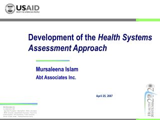 Development of the  Health Systems Assessment Approach