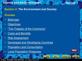 Section 2:  The Environment and Society