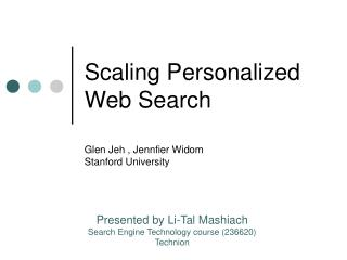 Scaling Personalized Web Search