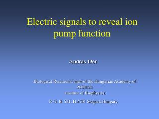 E lectric signals  to reveal ion pump function