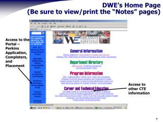 "DWE's Home Page (Be sure to view/print the ""Notes"" pages)"