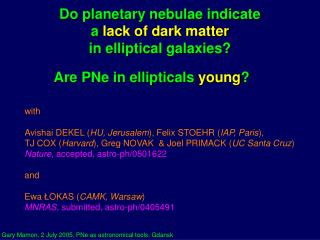 Do planetary nebulae indicate  a  lack of dark matter in elliptical galaxies?