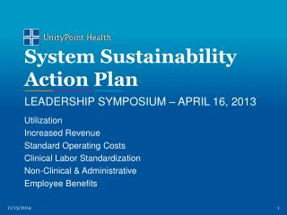 System Sustainability Action Plan